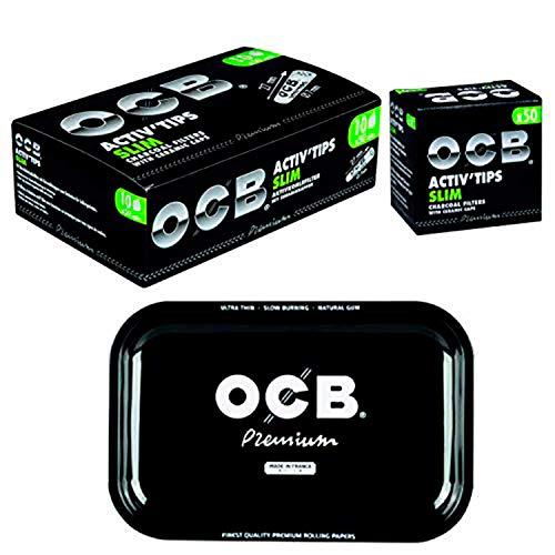 OCB Activ Tips - Filtro de carbón activo (7 mm, 10 x 50 unidades, incluye bandeja enrollable)