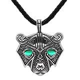 WLXW Collar de Acero Inoxidable - Cabeza del Oso Nórdica Amuleto Collar de Viking, la Mitología Nórdica Odin Refugio Joyería Que USA la Piel de Oso Guerrero, Nunca da para Arriba, Los 60CM,Verde,B
