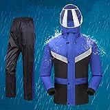Abrigo impermeable Adultos Traje Impermeable reutilizable impermeable de la lluvia de la chaqueta / pantalones Set de la motocicleta del coche eléctrico Montar las bandas reflectoras de Split con capu
