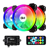 RGB Case Fans 3 Pack, GIM 120mm Chassis Fans (366 Modes with Controller and Remote) PC Com...