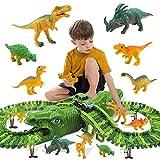 yqs Los niños bloques de construcción 153pcs/set de niños de juguete dinosaurio carril eléctrico coche DIY cambiable ensamblado bloque de construcción pistas sobre dinosaurio Hill juguete regalo