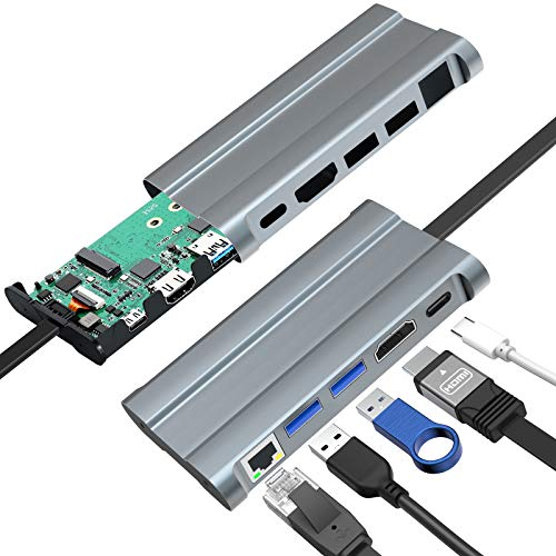 AOYATE Aluminum M.2 NVME & NGFF SSD Enclosure,5-in-1 USB C Hub for Laptop with (M-Key) & (B+M Key) Solid State Drive External Enclosure Storage up to 2TB for 2230 2242 2260 2280 SSDs