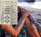 10 Piezas Tatuaje Arte Pintura Pegatinas Brillo Metal Oro Plata Temporal Flash Tatuaje Collar Pulsera Indios Tatuajes