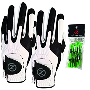 Zero Friction Male Men s Compression-Fit Synthetic Golf Glove  2 Pack  Universal Fit White/White One Size GL00112