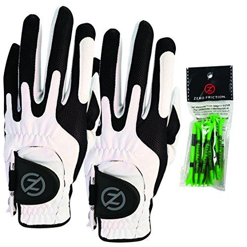 Gants de golf synthétiques à compression Zero Friction pour homme (paquet de 2), coupe universelle, blanc / blanc, taille unique