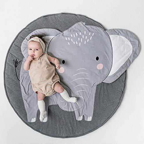 Tapis de Jeu Bebe Animaux Elephant Gris Doux épais Coton Rond Tapis éveil Bébé Fille Garçon Décoration Chambre Enfant Cadeau