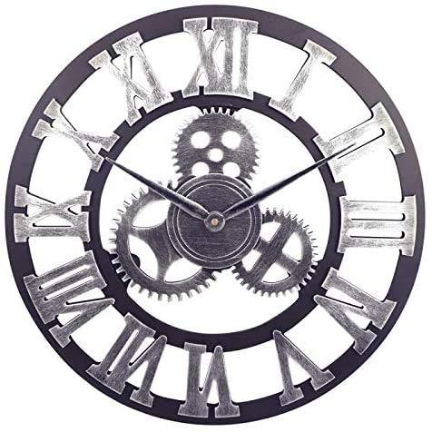 Orologio da Parete con Numeri Romani Retrò Europei Orologi Vintage a Batteria al Quarzo Silenzioso di Grandi Dimensioni per Cucina Soggiorno Camera da Letto (Argento-B)
