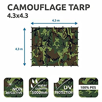 Yourgear Bushcraft Tarp 300 x 300 ou 430 x 430 cm ? Bâche de protection camouflage pour tente et tente ? Protection UV 50+, extrêmement robuste et entièrement étanche [4,3 x 4,3]