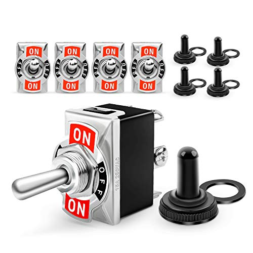 Nilight 50098R 6Pin Heavy Duty Rocker Toggle 15A 250V 20A 125V DPDT 6 Pin ON/Off/ON Switch Metal Bat Waterproof Boot Cap Cover-5 Pack, 2 Years Warranty