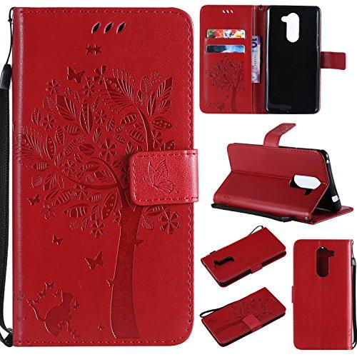 Artfeel Coque en Cuir Portefeuille pour Huawei Honor 6X,Motif en Relief Arbre Papillon Fleur Housse,Style Livre avec Fentes pour Cartes Fermeture Magnétique Support Étui-Rouge