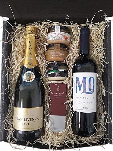 Cesta de Navidad para regalo de empresas con vino, cava, bombones, cremas y pates.