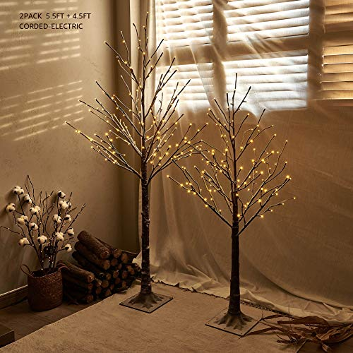 Hairui Pre-lit Twig Tree Snow Flocked Artificial Leafless Christmas Tree 4.5FT 128LED & 5.5FT 168LED Plug in for Holiday Winter Home Decorations Indoor Outdoor Use