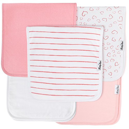 "KiddyStar 5-Pack Baby Burp Cloths, Organic Cotton, Large 21""x10"", Triple Layer, Thick, Soft and Absorbent Towels, Burping Rags for Newborns, for Boys and Girls … (Pink)"