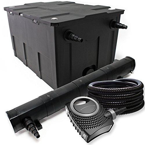 Filter Set aus Bio Teichfilter 60000l, 72W UVC Teichklärer, Teichpumpe und 25m Schlauch