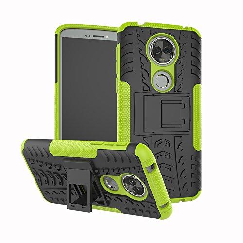 TiHen Handyhülle für Motorola Moto E5 Plus Hülle, 360 Grad Ganzkörper Schutzhülle + Panzerglas Schutzfolie 2 Stück Stoßfest zhülle Handys Tasche Bumper Hülle Cover Skin mit Ständer -Grün