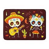 Alfombrillas Alfombras de baño Alfombrilla para exterior / interior Cráneo Dibujos animados Día de muertos Hojas de otoño Azúcar Calavera Decoración linda del baño mexicano Alfombra Alfombra de baño