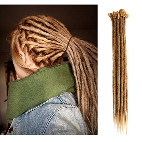 20 inch 100% Handmade Dreadlocks Extensions Fashion Reggae Hair Hip-Hop Style Soft faux locs Crochet Braiding Hair For Women/Men (20Inch 10Pcs, Light Brown)