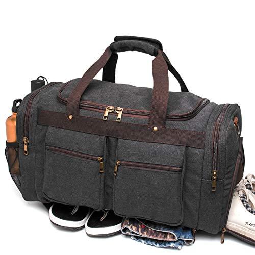 Weekender Overnight Duffel Bag Shoe Pocket for Women Men Weekend Travel Tote Carry On Bag (Black)