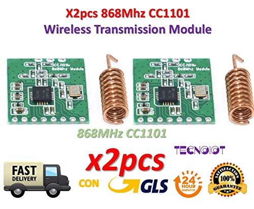 TECNOIOT 2pcs CC1101 868MHz Wireless Module Long Distance Transmission with Antenna