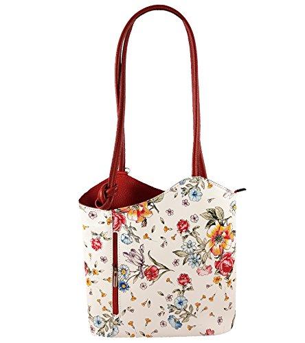 Freyday 2 in 1 Handtasche Rucksack Designer Luxus Henkeltasche aus Echtleder in versch. Designs (Blumen Rot)