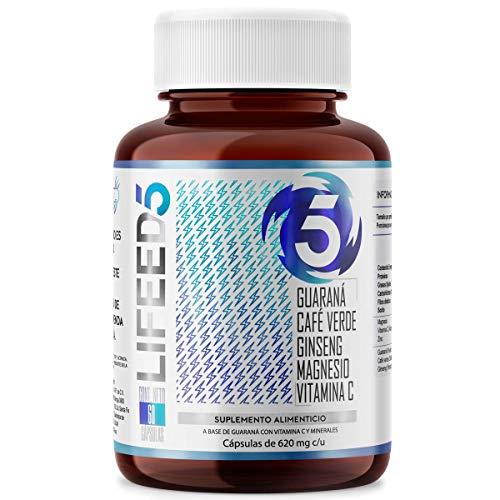 LIFEED5 ENERGY 60 Cáps | Café Verde, Cafeína, Guaraná, Ginseng, Magnesio, Vitamina C y ZINC | con Ingredientes Naturales para Energía del día a día - Lifeed 60 Cápsulas