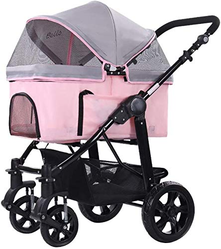 qazxsw Dog Strollers Cat Stroller Baby Carriage,4 In 1 Foldable Multi-Functional Cat Pram Buggy Pushchair, Easy Wash Away with Carry Cage, Pet Car Seat, for Medium Small Pet
