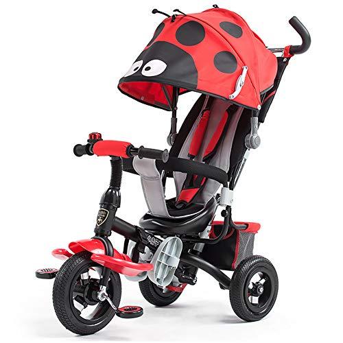 HBSC Triciclo para niños Baby Trike Triciclo, Forma de Dibujos Animados, toldo de protección UV, 1-5 años 1bicycle Regalo Red3