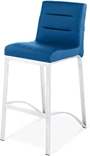 Zuri Furniture Lynx Counter Height Contemporary Bar Stool with Metal Base - Dark Blue