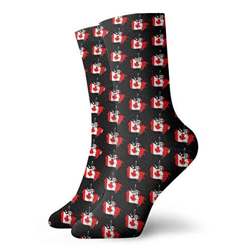 Elsaone Kanadische Flagge Lustige verrückte Crew Socken Weiche Neuheit Socken 30 cm