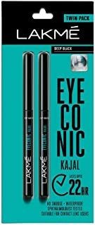 Lakme Eyeconic Kajal Twin Pack, Black, 0.35g with 0.35g