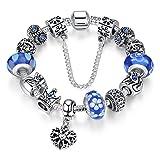 A TE® Charm Pulsera Abalorio Murano Cristal Vidrio Perlas con Cadena de Seguridad #JW-B110 (Azul 18cm)
