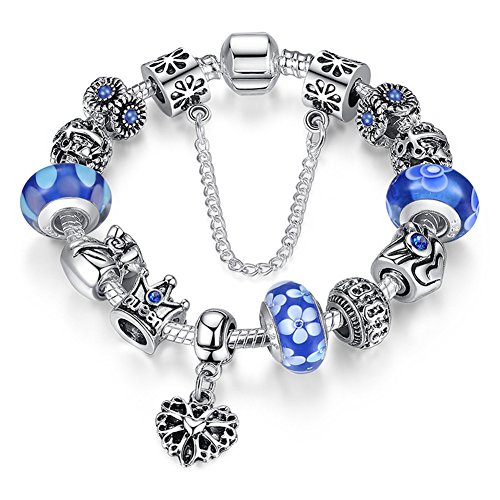 "A TE® Bracciale Charms ""Fiore"" Vetro Catena Sicurezza Regalo 18cm/20cm#JW-B110 (Blu-18cm)"