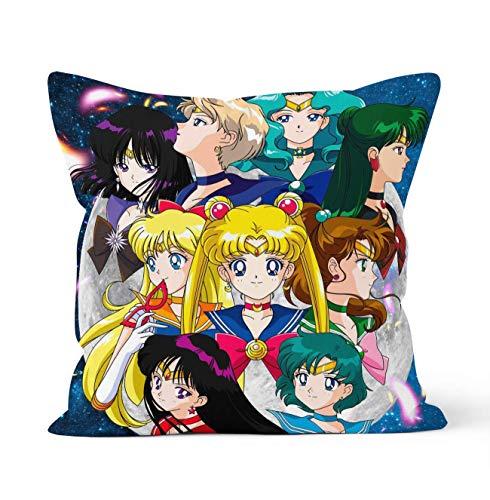 YHML Fundas de almohada decorativas de doble cara con cierre de cremallera oculto, regalo de anime, para decoración del coche, sofá, cama, tamaño 45 cm x 45 cm