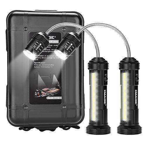 IMAGE Grill Licht 2 Stück magnetische Grilllampe mit Seitenleuchte 360° drehbare LED Beleuchtung für Barbecue Picknick Outdoor