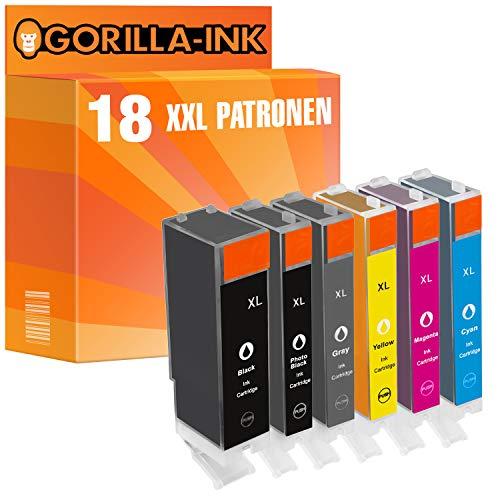 Gorilla-Ink 18 Cartuchos de Tinta Compatible con Canon PGI-570XL CLI-571XL con Gray | para Pixma MG-7750 MG-7751 MG-7752 MG-7753 TS-8040 TS-8050 TS-8051 TS-8052 TS-8053 TS-9040 TS-9050 TS-9055