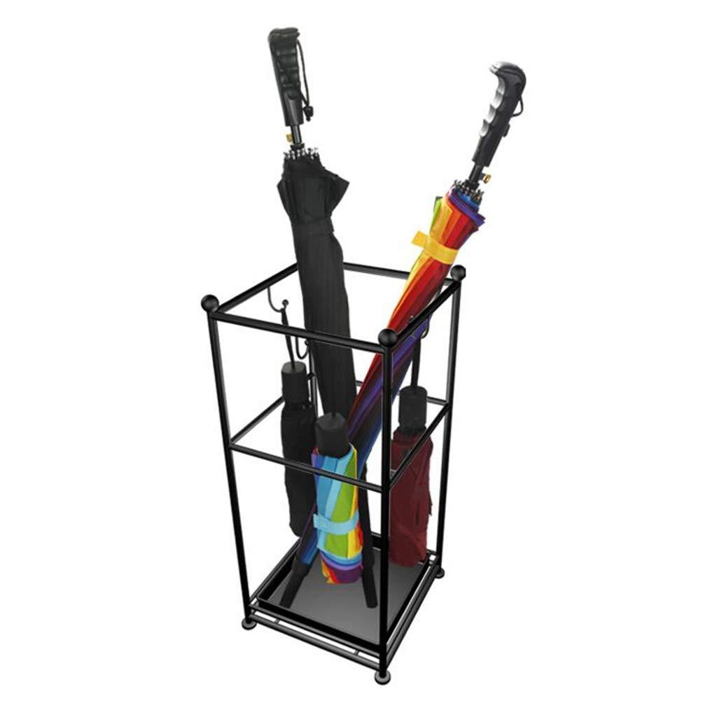 XEWNEG 傘の立場の滴りの皿および3つのホックが付いている杖の立場のホールダーのための黒い傘のホールダー