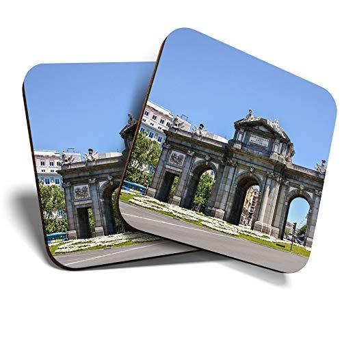 Great Coasters (Set de 2) Posavasos cuadrado/brillante de calidad para cualquier tipo de mesa - Arco del Triunfo Madrid España #21145