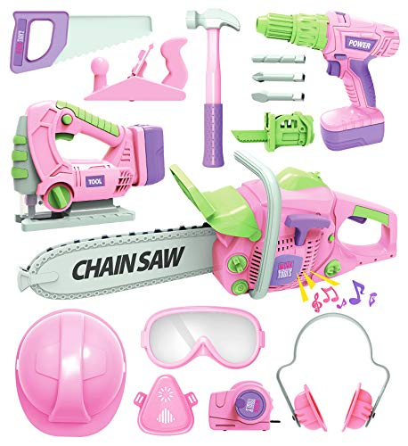 Kids Tool Set with Electric Toy Drill Chainsaw Jigsaw Toy Tools for Girl, Realistic Kids Power Construction Pretend Play Tools Set Toddler Toys Playset Kit for Toddler Boy Girl Kid Child Tool Toy Pink