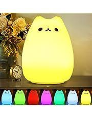 CHwares Ruchoma lampka nocna LED dla dzieci, wielokolorowa, silikonowa lampa w kształcie kotka, ciepła biel i 7-kolorowa, podwójne tryby światła, wrażliwe sterowanie za pomocą przycisku, ładowanie przez USB