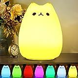 CHWARES Lámpara portátil LED del gato Niños luz de la noche de los niños multicolor de silicona, blanco cálido y 7...