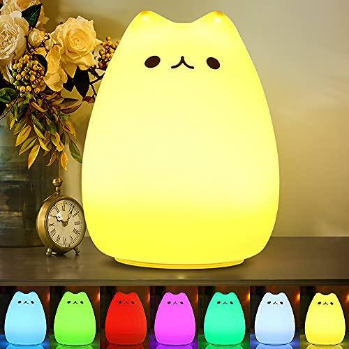 CHWARES Lámpara portátil LED del gato Niños luz de la noche de los niños multicolor de silicona, blanco cálido y 7 colores de respiración, Tap Control sensible, iluminación recargable USB