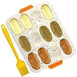 Set Grande Teglia per Muffin Vassoio 12 Muffin antiaderente con spazzola in silicone,per Teglia da Forno in Silicone da Cucina Stampo in Silicone, Giallo