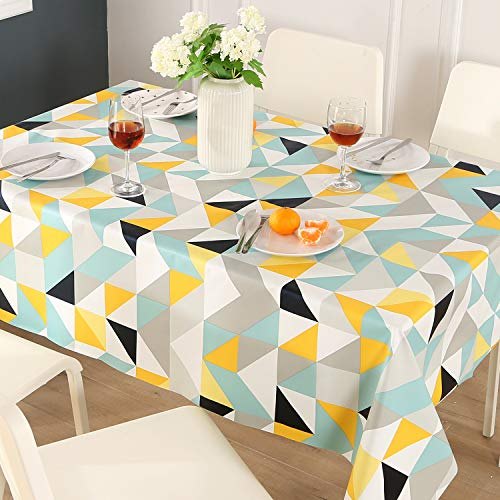ENCOFT Manteles de Plastico Rectangular PVC Impermeable Mantel para Mesa Comedor Cocina Antimanchas Hules para Mesas Patron Triangulo Geometria Multicolor 137x220cm