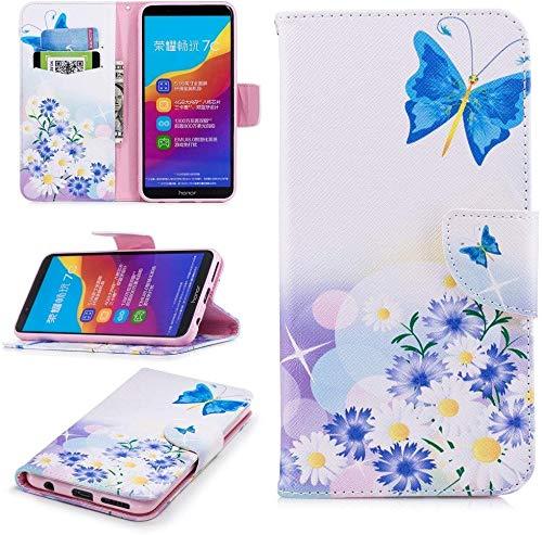 CoverKingz Handyhülle für Honor 7C / Huawei Y7 2018 / Huawei Y7 Prime 2018 - Handytasche mit Kartenfach Huawei Honor Cover - Handy Hülle klappbar Motiv Schmetterling