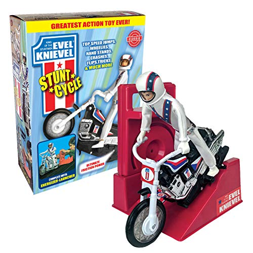 The Amazing Wind-up and go Extreme Evel Knievel Stunt Cycle with Energizer Launcher and Stunt Trail Bike - The 1970's Sensation is Back