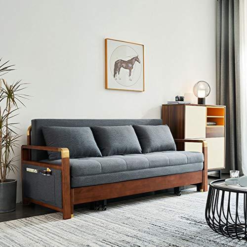 Sofá Cama De Madera Maciza: Sofá Cama Plegable Multifuncional Para Sentarse Y Dormir Con Función De Almacenamiento, Adecuado Para Muebles De Sala De Estar De Apartamentos, Gran Capacidad De Carga,1.9M