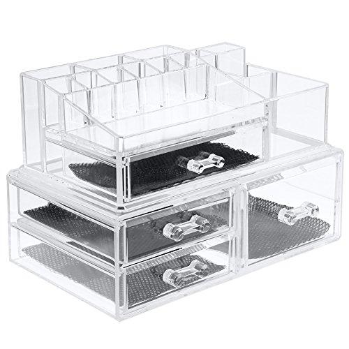 XXXL Size Make Up Tasche Storage Kosmetik Organizer Aufbewahrung 2 Teile 4 Große Schubladen Acryl,Transparent
