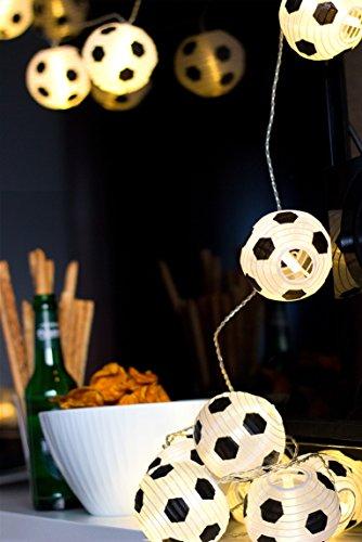 Plaights Fußball Lampion Lichterkette mit 20 LED's, warmweiß
