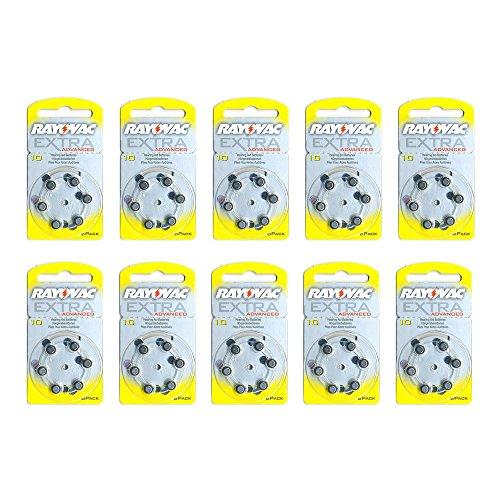 60 pile batterie x apparecchi acustici RAYOVAC EXTRA mod.10 gialle PR70 SPEDIZIONE CON ORRIERE