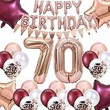 FACHY 70 Anni Compleanno Decorazioni per Donne, Palloncino Buon Compleanno Stendardo di Gagliardetto Numero 70 Palloncini stagnola Stella Rossa Vino Oro Rosa per Mamma 70° Compleanno